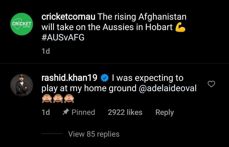 Cricket.com.au has pinned this comment on the post