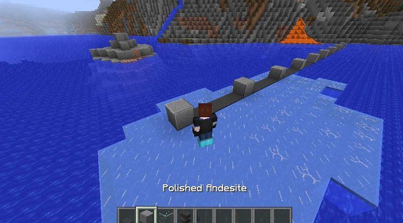 The Frost Walker enchantment creating Frosted Ice (Image via u/Machiru on Reddit)
