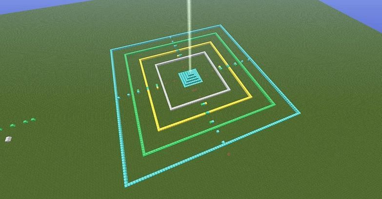 The 2D range of the Beacon visualized (Image via minecraftforum)