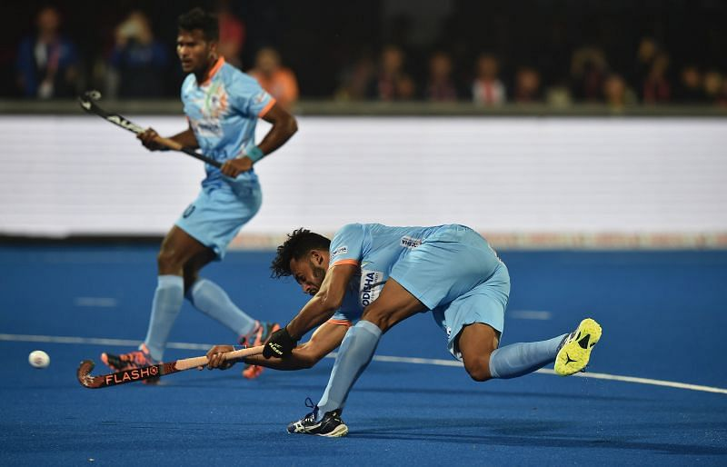 Harmanpreet Singh in action during the 2018 World Cup in Bhubaneswar