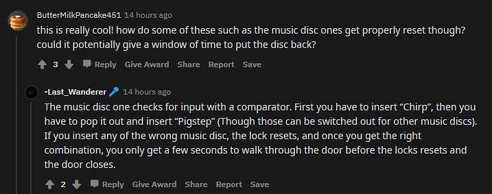 OP explains the music disc secret entrance (Image via Reddit)