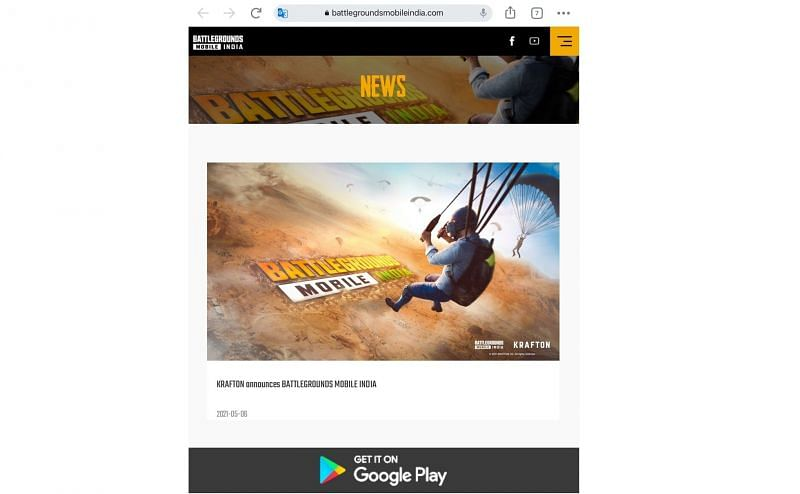 Play Store link on Battlegrounds Mobile India