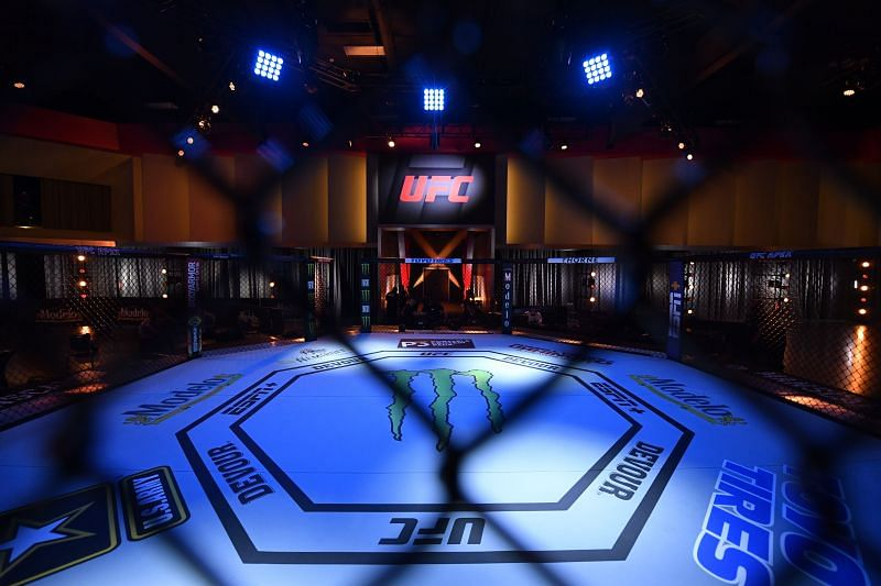 The UFC octagon at the Las Vegas Apex