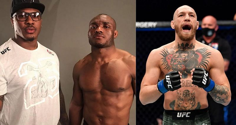 Mohammed Usman with Kamaru Usman (Left) and Conor McGregor (Right)