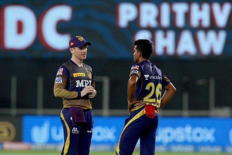 Shivam Mavi with Skipper Eoin Morgan In IPL 2021 [P/C: iplt20.com]