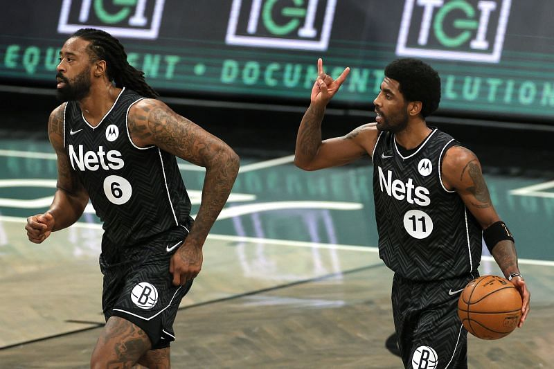 Kyrie Irving (right) and DeAndre Jordan of the Brooklyn Nets.