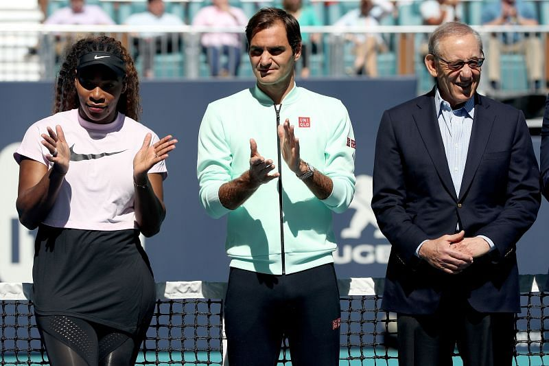 (From L to R) Serena Williams, Roger Federer, and Stephen Ross