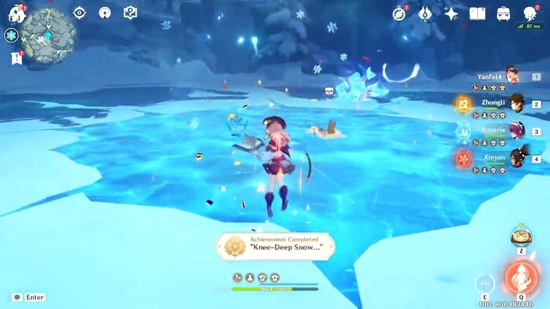 """Knee-Deep Snow…"" achievement (image via ShinoCoffee)"