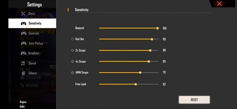 Best Free Fire sensitivity settings for accurate headshots on 6 GB RAM devices