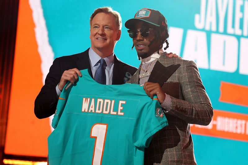 Jaylen Waddle being drafted in the first round of the 2021 NFL Draft.
