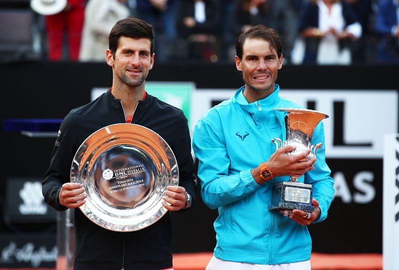 Novak Djokovic (L) and Rafael Nadal at the 2019 Italian Open