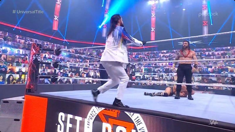 Seth Rollins and Roman Reigns at WrestleMania BackLash