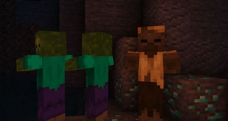 A Husk and his two friends (Image via Minecraft)