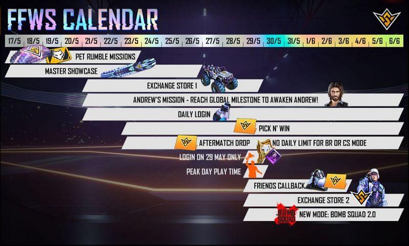 The FFWS calendar