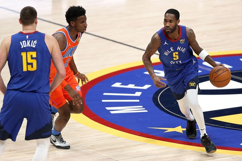 Will Barton #5 of the Denver Nuggets in action (Right)