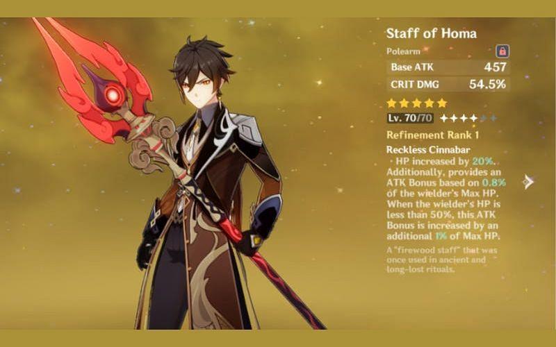 Genshin Impact character screen of Zhongli with the Staff of Homa