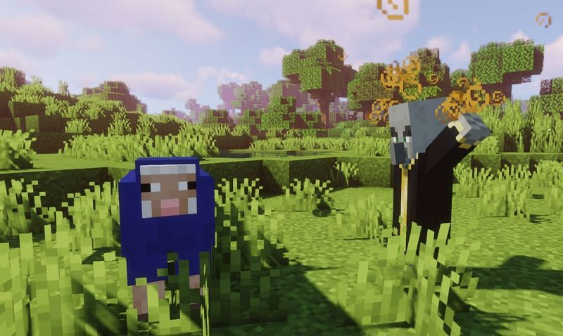Shown: An Evoker about to change the color of the sheep (Image via Minecraft)