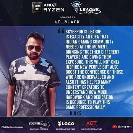 Binks, the captain of Mumbai Aces (Image via Skyesports League)