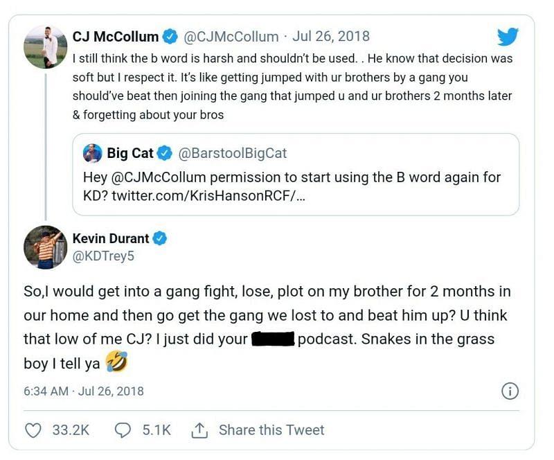 CJ McCollum vs Kevin Durant on Twitter