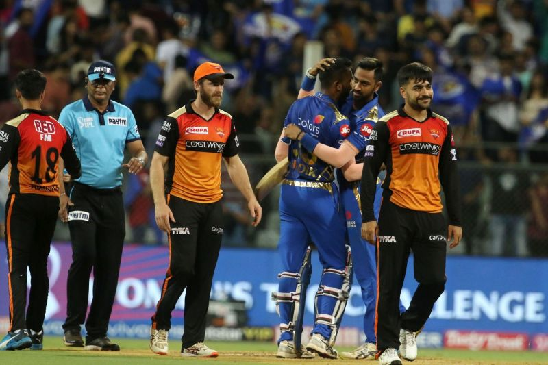 The Pandya brothers (MI) alongside Kane Williamson and Rashid Khan(SRH) (Credits: IPLT20.com)