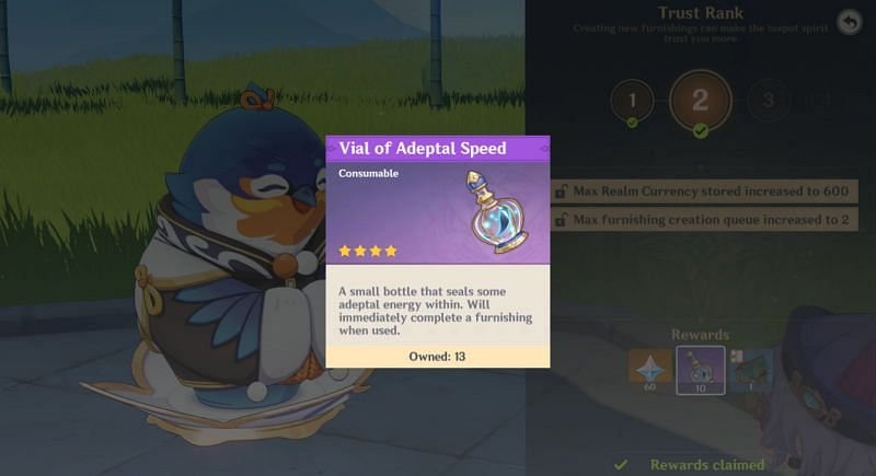 In-game description for Vial of Adeptal Speed (image via Genshin Impact)