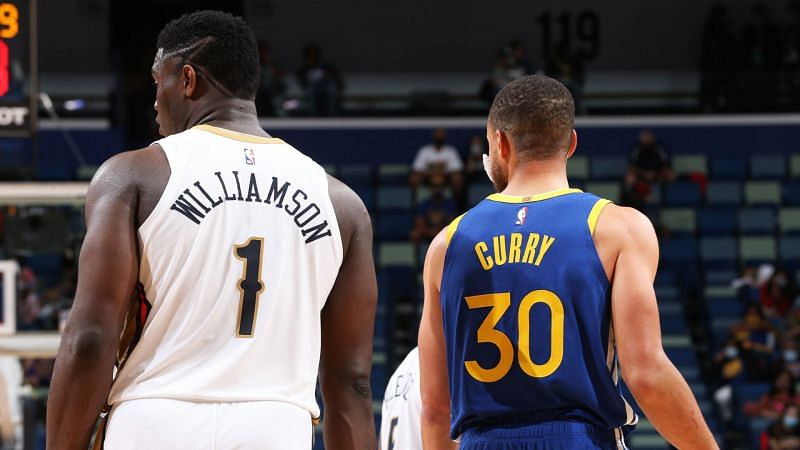 New Orleans Pelicans' Zion Williamson and Golden State Warriors' Stephen Curry