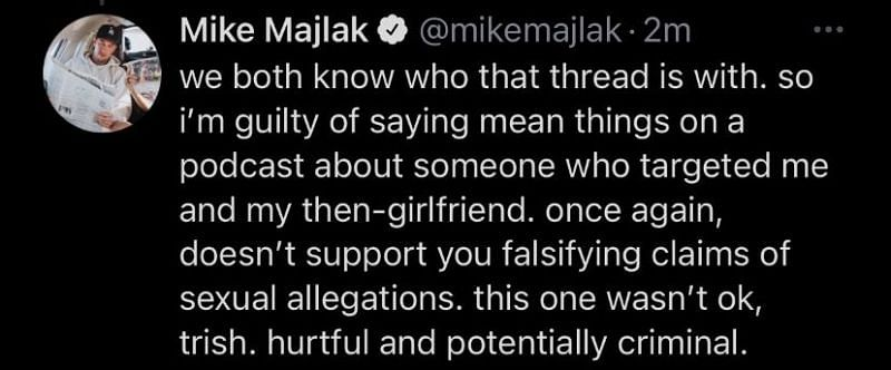 Mike responds to Trisha's shared screenshot (Image via Twitter)