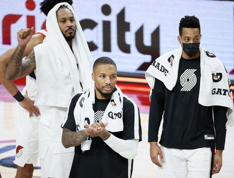 Carmelo Anthony, Damian Lillard and CJ McCollum of the Portland Trail Blazers