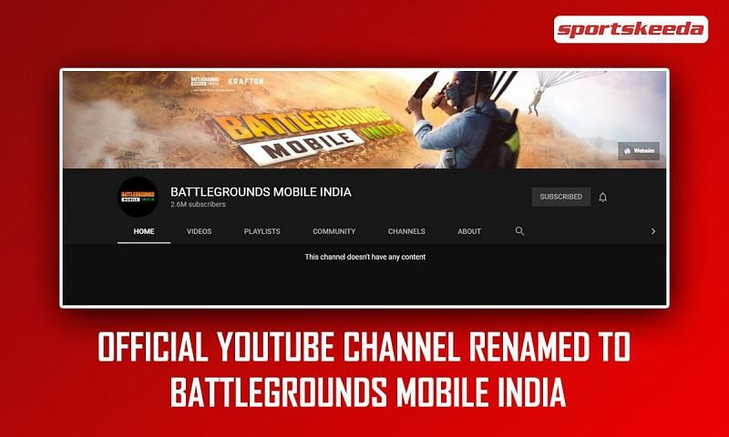 PUBG Mobile India's official YouTube channel renamed to Battlegrounds Mobile India