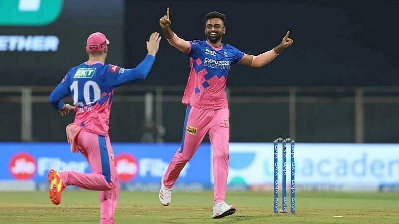 Jaydev Unadkat celebrating a wicket in IPL 2021