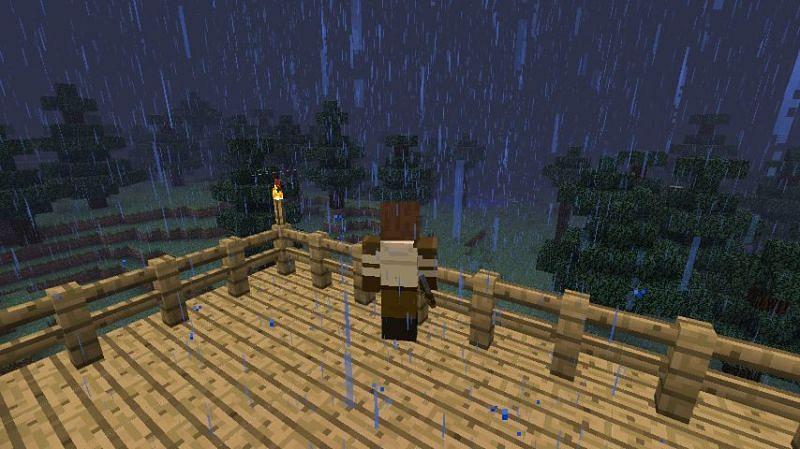 Thunderstorm in Minecraft (Image via vulcanlsj.deviantart.com)