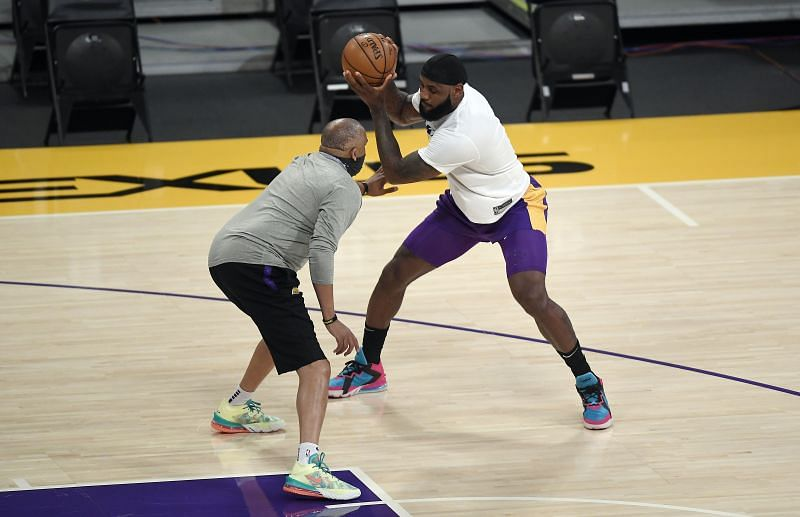 LeBron James #23 warms up before the start of a basketball game.