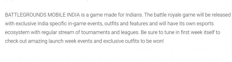 A snippet of Battlegrounds Mobile India