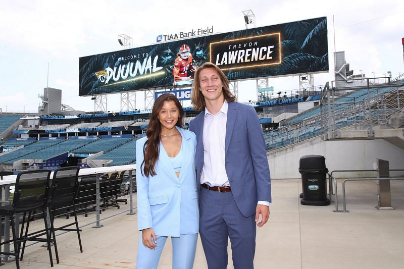 Trevor Lawrence and Marissa Mowry pose after Jags picked the highly-rated QB. Twitter