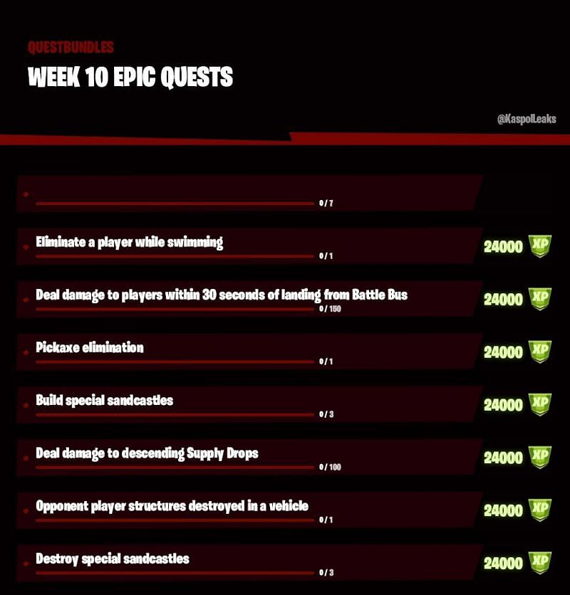 The leaked Fortnite week 10 Challenges (Image via Twitter, KaspolLeaks)