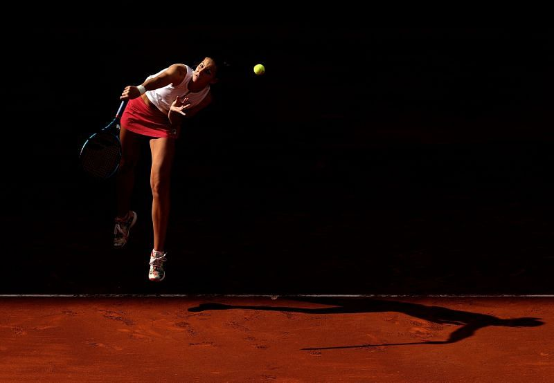 Karolina Pliskova in action during her first-round match at the Madrid Open