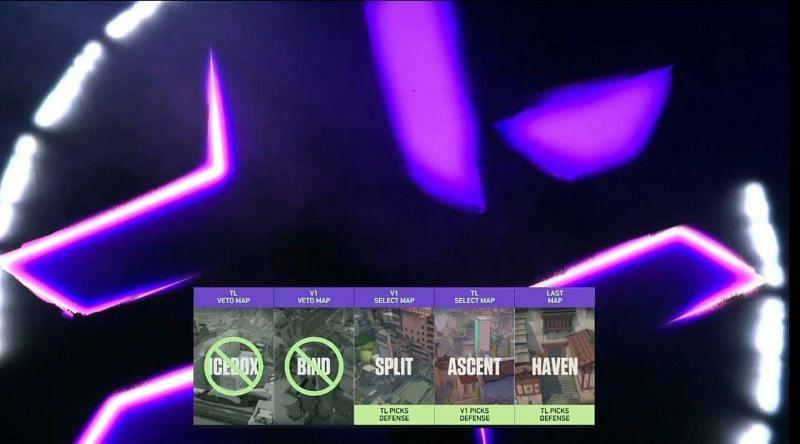 Team Liquid vs Version 1 Selected Maps(Image via YouTube/Valorant Champions Tour)