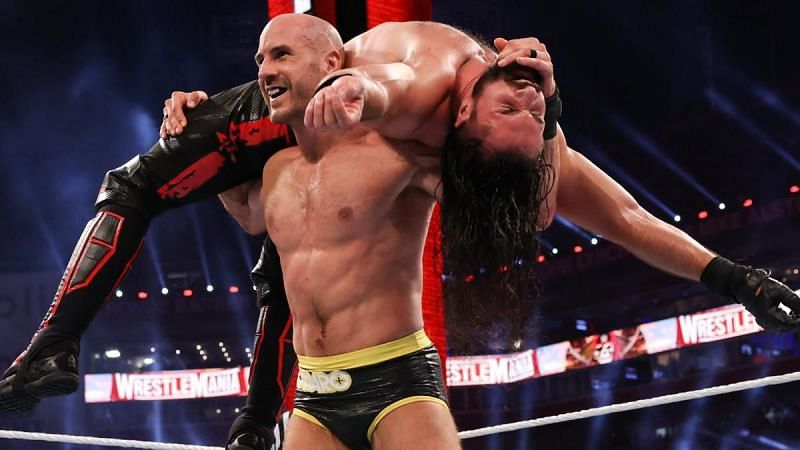 Cesaro and Seth Rollins at WWE WrestleMania