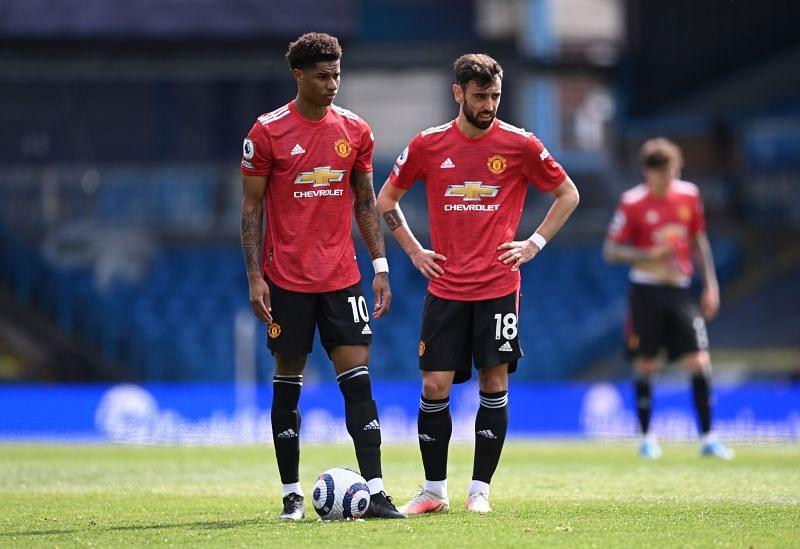 Marcus Rashford (left) and Bruno Fernandes (right)