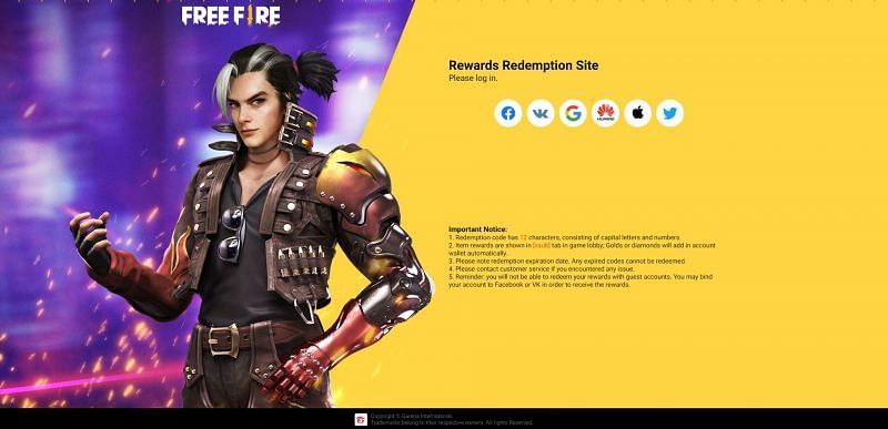 Log in using the platform linked to the Free Fire account