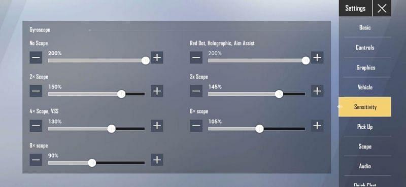 Gyroscope sensitivity settings in PUBG Mobile Lite