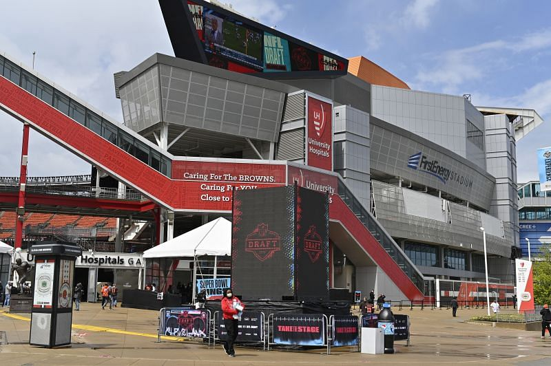 A digital display for the NFL Draft sits outside FirstEnergy Stadium at the NFL Draft Experience on April 30, 2021 in Cleveland, Ohio.