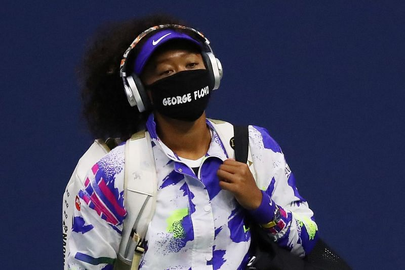 Naomi Osaka wearing a mask with the name of George Floyd at the 2020 US Open