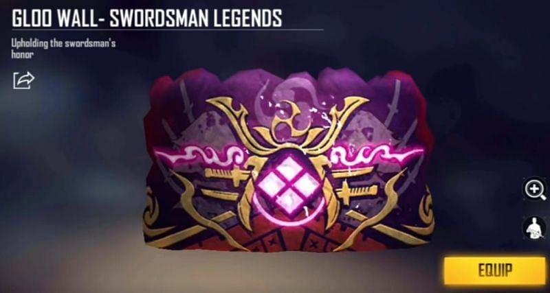 Free Fire में Swordsman Legend ग्लू वॉल स्किन