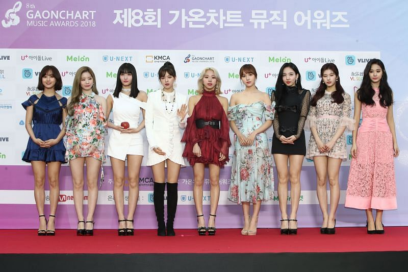 Members of TWICE at the 8th Gaon Chart K-Pop Awards (Image via Getty)