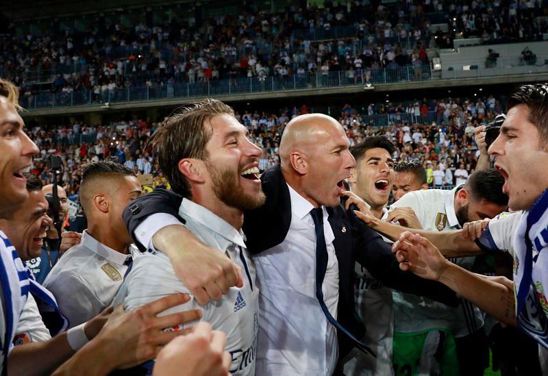 Sergio Ramos (L) and Zinedine Zidane
