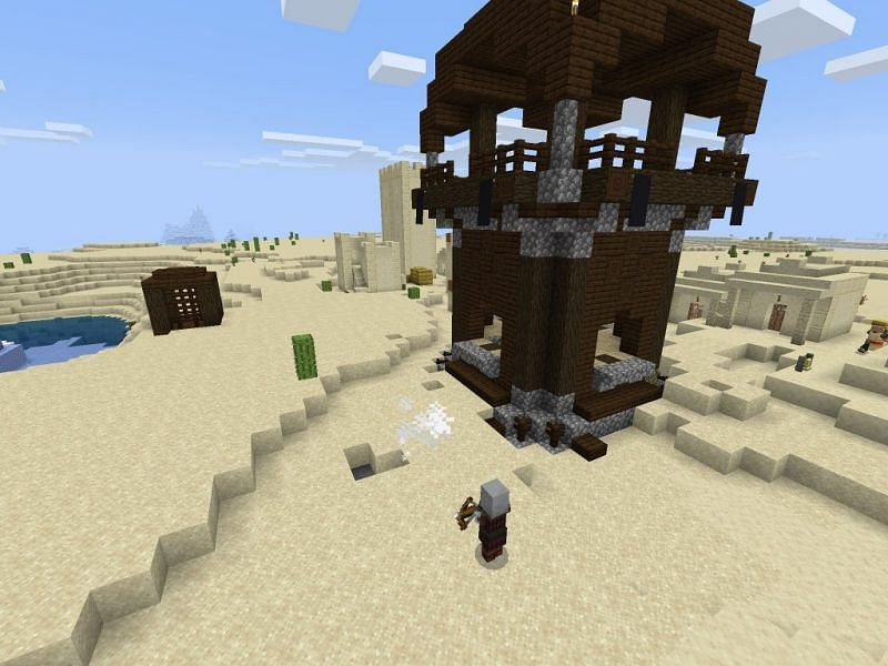 Pillager outpost in the desert (Image via minecraftseedhq)