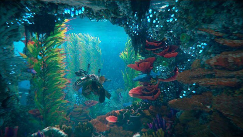 Aloy swimming underwater (Image via Sony)