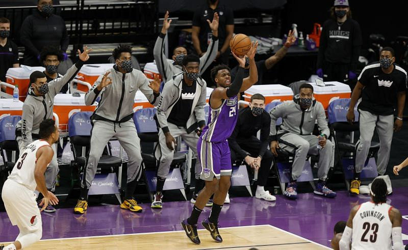 Buddy Hield #24 of the Sacramento Kings attempts a 3-pointer against the Portland Trail Blazers.