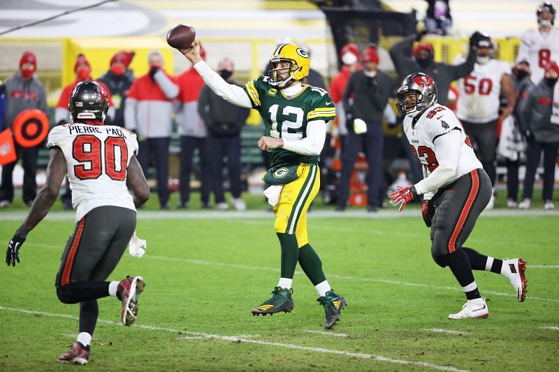 Aaron Rodgers playing for the Green Bay Packers